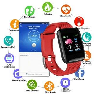 スマートウォッチ 116plus レッド 最新型 歩数計 血圧 心拍数