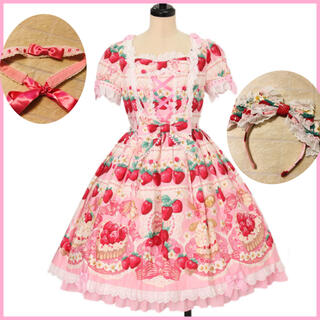 Angelic Pretty - Strawberry whipワンピース+リボンカチューシャ ピンク