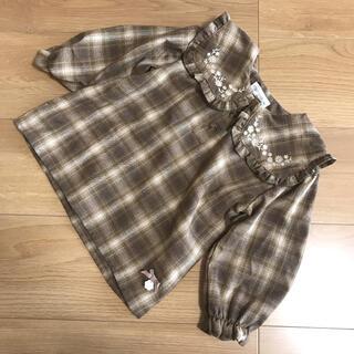 futafuta - ママラク ビッグ襟刺繍ブラウス 95 プティマイン テータテート