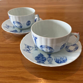 深川製磁 ブルーチャイナ ペアカップ