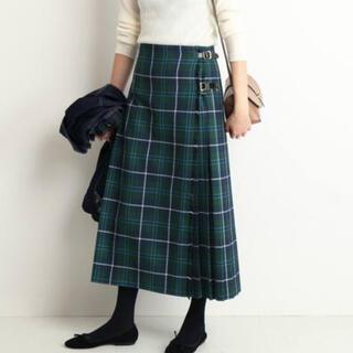 IENA SLOBE - GLEN FYNE/グレンファイン SLOBE別注プリーツスカート グリーン