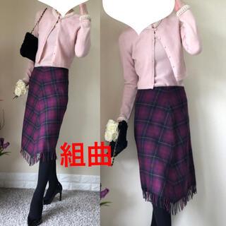 クミキョク(kumikyoku(組曲))の組曲 クミキョク アシンメトリー タータンチェック ウールスカート 2 M(ひざ丈スカート)