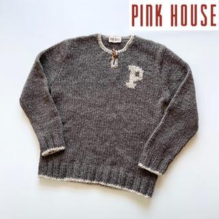 ピンクハウス(PINK HOUSE)のPINK HOUSE トグルボタン胸ロゴセーター グレーブラウン ゆったり(ニット/セーター)