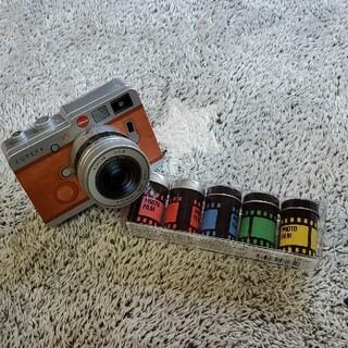カルディ(KALDI)のエウレカ カメラ缶 望遠レンズ ブラウン 写真フィルム バレンタイン(菓子/デザート)