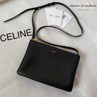 セリーヌ(celine)の極美品❤CELINE セリーヌ トリオ スモール ショルダーバッグ 黒 ブラック(ショルダーバッグ)