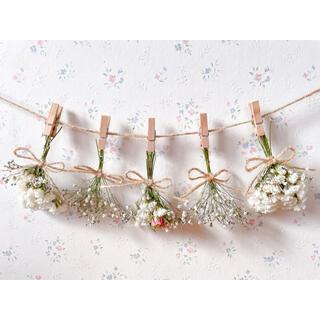 淡い3種のバラとかすみ草のホワイトドライフラワーガーランド♡スワッグ♡ミニブーケ(ドライフラワー)