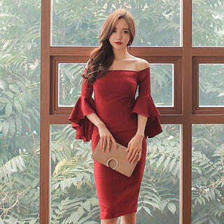 【本日限定セール】DURASジャンル韓国ファッション♡袖フリルキャバドレスXL