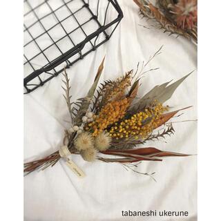 グレビレア2種とミモザをふんわりと束ねた アンティーク スワッグ ドライフラワー(ドライフラワー)