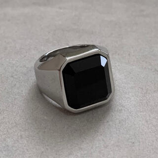 ブラックオニキスカレッジリング  シルバー 指輪 オニキス