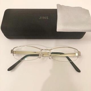 ジンズ(JINS)のJINS メガネ 眼鏡 下縁なしメタルフレーム 度なし シルバー(サングラス/メガネ)