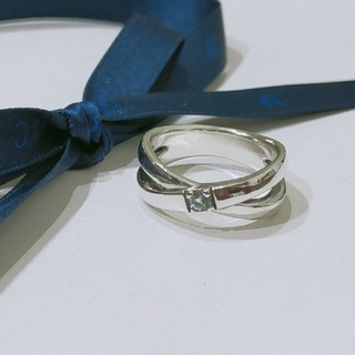 ヨンドシー(4℃)のmyumyu様専用 4℃ アクアマリンクロスリング 12号(リング(指輪))