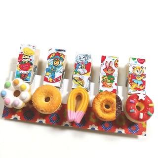 ★新作柄★レトロ柄ドーナツ木製ピンチ(マグネットシール付き)