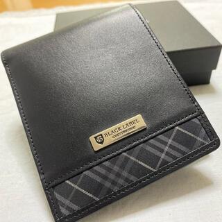 ブラックレーベルクレストブリッジ(BLACK LABEL CRESTBRIDGE)の【美品】black label 折りたたみ財布 ブラック(折り財布)