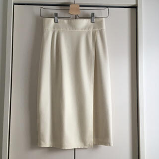 UNITED ARROWS - 【ユナイテッドアローズ】美品 膝丈ラップスカート ホワイト 36 Sサイズ