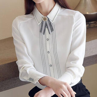 FRAY I.D - ラインデザインレトロリボンシャツ(ホワイト)