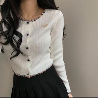 STYLENANDA - 【予約商品】《2カラー》バーバリー調 蝶 カーディガン 韓国ファッション