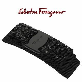 Salvatore Ferragamo - 【新品未使用】ブラック 黒 ビジュー付きバレッタ 箱付き