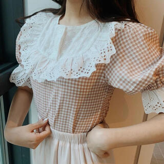 flower - retro gingham check tops