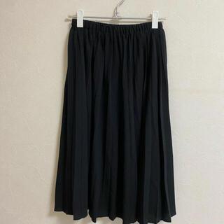ロングスカート プリーツスカート 黒 (ロングスカート)