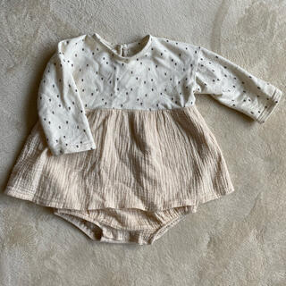 petit main - ワンピース ロンパース 80 カバーオール 韓国こども服 ベージュ きなり 白