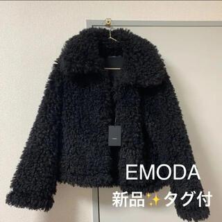 エモダ(EMODA)の新品タグ付 フェイクファーコート もこもこコート プードルコート ブラック(毛皮/ファーコート)