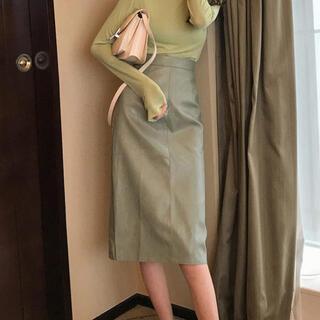 EMODA - レザー膝丈スカート(グリーン)