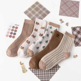 新品 まとめ売り5足組 かわいい韓国Ins人気靴下 レディース あったかソックス