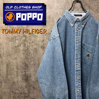 TOMMY HILFIGER - トミーヒルフィガー☆オールド刺繍ロゴポケットデニムシャツ 90s