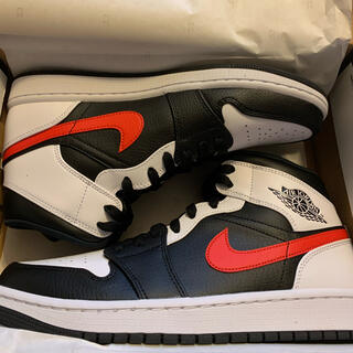 NIKE - NIKE AIR JORDAN1 MID BLACK/CHILE RED