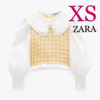 ZARA - 新品未使用 ZARA ピーターパン襟コントラストブラウス イエロー XS