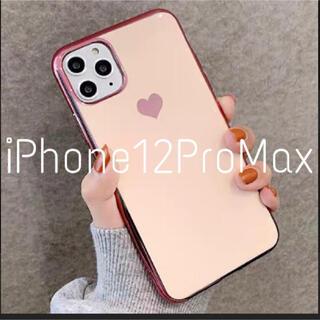 メタリック ハート iPhoneケース iPhone12ProMax ピンク