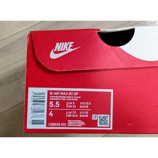 NIKE(ナイキ)の22.5cm。新品未使用ナイキ ウィメンズ エアマックス90 メタリッククローム レディースの靴/シューズ(スニーカー)の商品写真