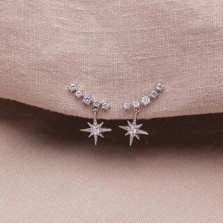 STAR JEWELRY - silver star zirconia pierce ◯s925 post