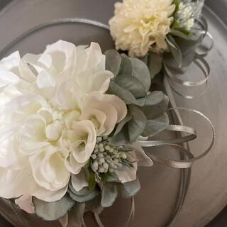 toytoy626 大小親子コサージュ セット 【ホワイト】卒業 入学 結婚式(コサージュ/ブローチ)