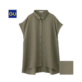 ジーユー(GU)の新品エアリーシャツ カーキ(シャツ/ブラウス(半袖/袖なし))