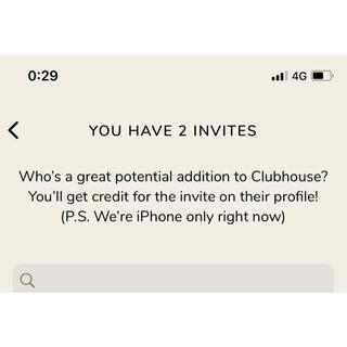 Clubhouse 招待 1名分 クラブハウス