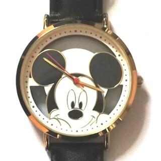 Disney - 両手をつくミッキーが可愛いクリア背景の金色腕時計