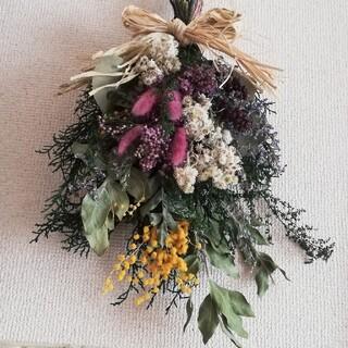 .*゜..春ミモザとナチュラルグリーン.*..゜スワッグ お花のある暮らし(ドライフラワー)