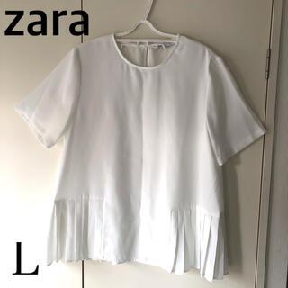 ZARA - ZARAザラ ブラウス 白 半袖 Lサイズ