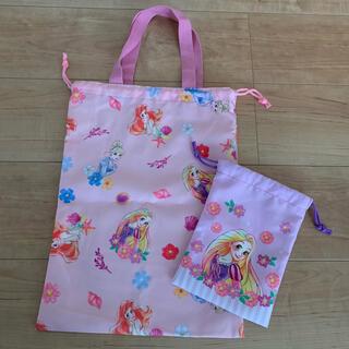 ディズニー(Disney)のディズニープリンセス お着替え袋、ミニ巾着袋 2枚セット 新品未使用品(体操着入れ)