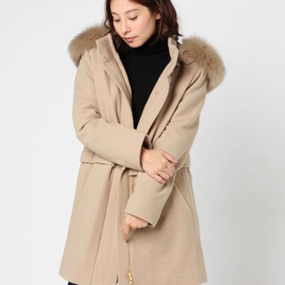 DOUBLE STANDARD CLOTHING - ダブスタ★ ファー付きフードコート メルトンコート