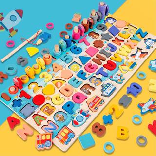 【限定セール】知育玩具 モンテッソーリ 公文 七田 数字図形パズル  魚釣り付き