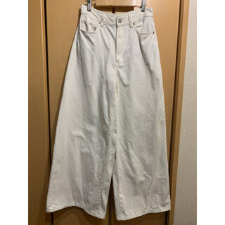 GU - 白 ワイドパンツデニム Aライン(Mサイズ)