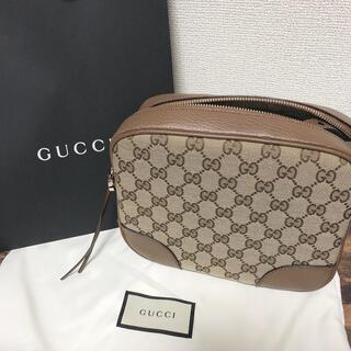 Gucci - 【未使用品】グッチ GGキャンバス×レザー ショルダーバッグ ベージュ×ブラウン