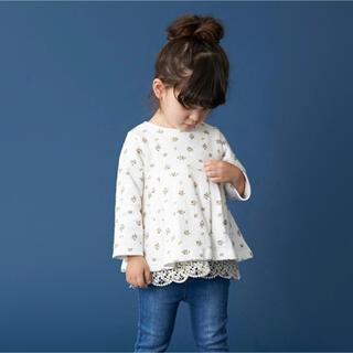 プティマイン(petit main)のプティマイン 110 裏起毛 裾レースチュニックトレーナー(Tシャツ/カットソー)