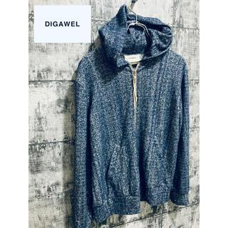 ディガウェル(DIGAWEL)のDIGAWEL ディガウェル レーヨン ジップパーカー フーディ 無地 ブルー (パーカー)