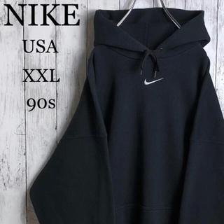 NIKE - 【希少カラー&サイズ】 ナイキ USA製 90s 刺繍ロゴ パーカー XXL 黒