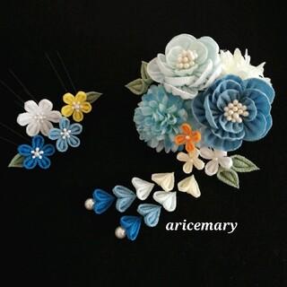 藍白と空色のつまみ細工髪飾り(ヘアアクセサリー)