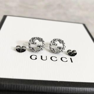 Gucci - 正規品 グッチ ピアス シルバー 丸 GG ロゴ 銀 SV925 燻加工 ミニ2