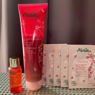 メルヴィータ(Melvita)のメルヴィータ ロルロゼ ウォッシュスクラブ 150ml +ピンクオイルミニボトル(ボディスクラブ)
